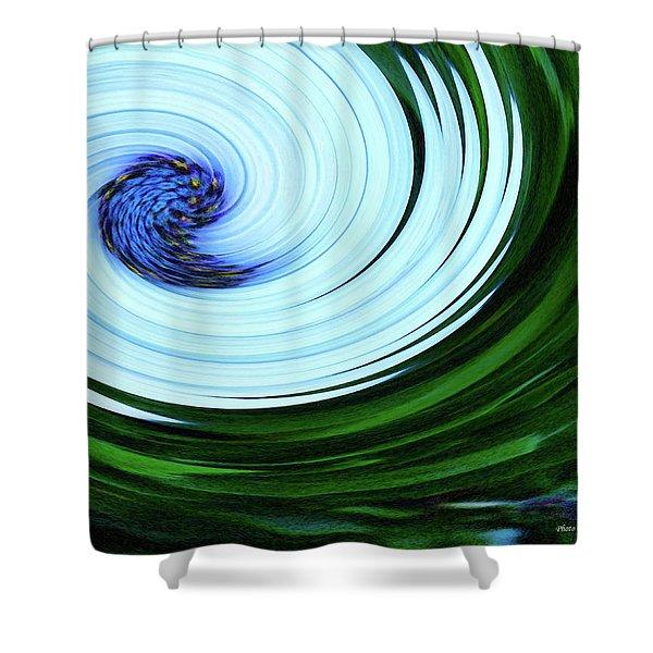 Blue On Flower Shower Curtain