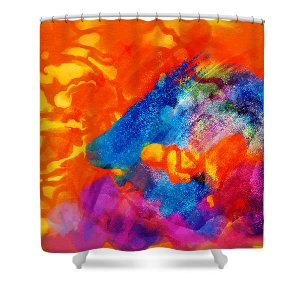 Shower Curtain featuring the digital art Blue On Orange by Antonio Romero