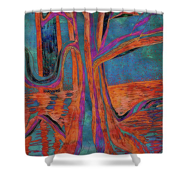Blue-orange Warm Dusk River Tree Shower Curtain