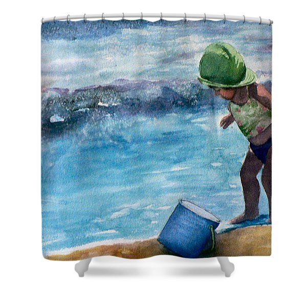 Blue Pail Shower Curtain