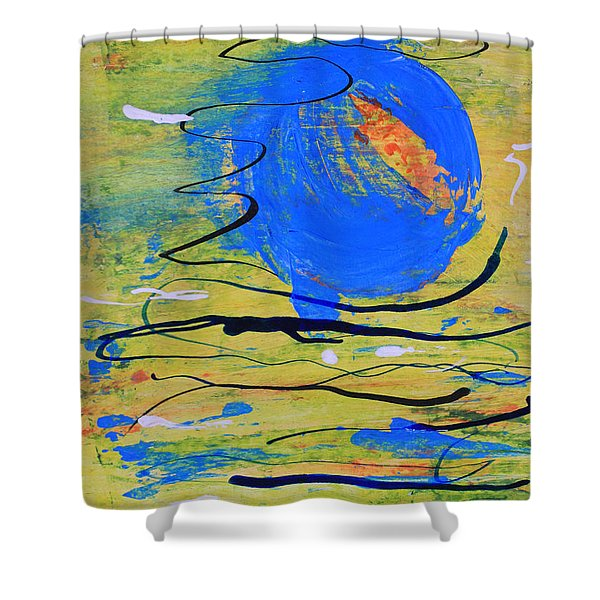 Blue Planet Abstract Shower Curtain