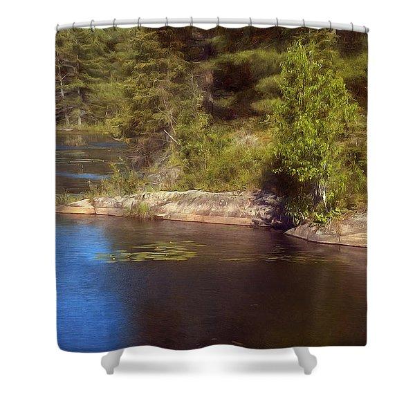 Blue Pond Marsh Shower Curtain