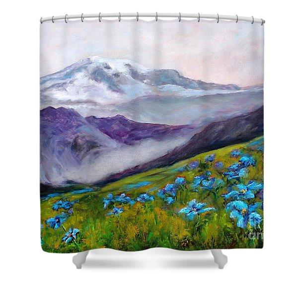 Blue Poppy Field Shower Curtain