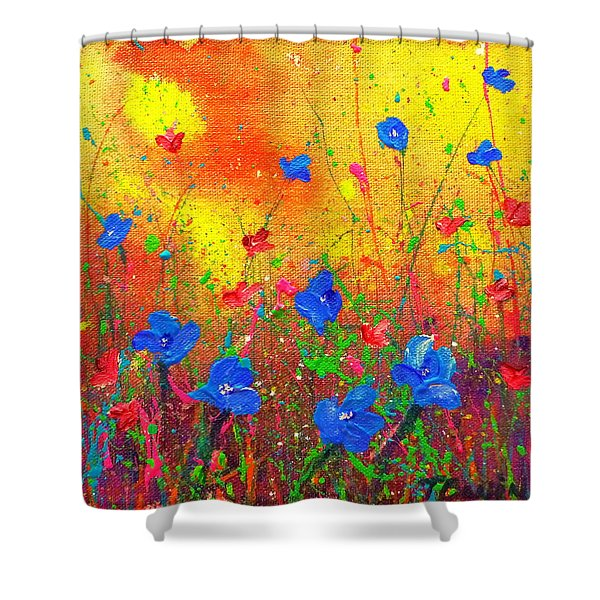 Blue Posies II Shower Curtain