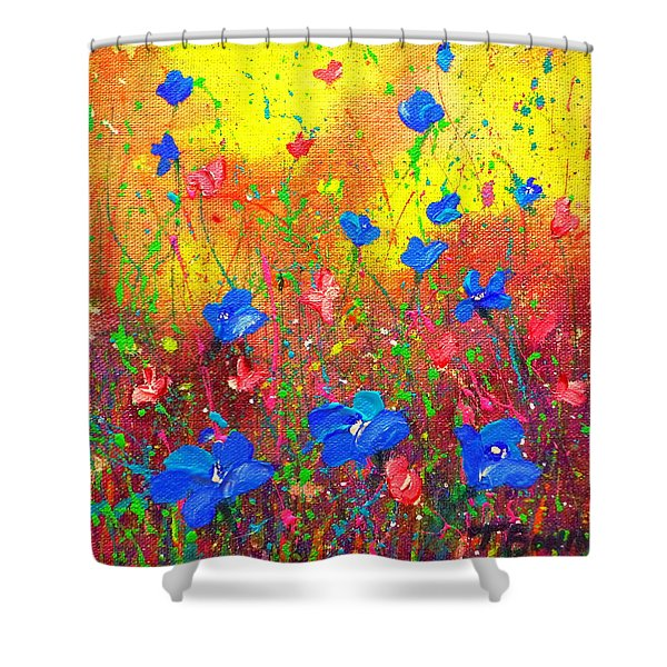 Blue Posies Shower Curtain