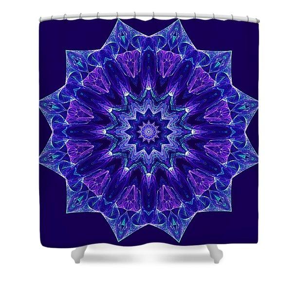 Blue And Purple Mandala Fractal Shower Curtain
