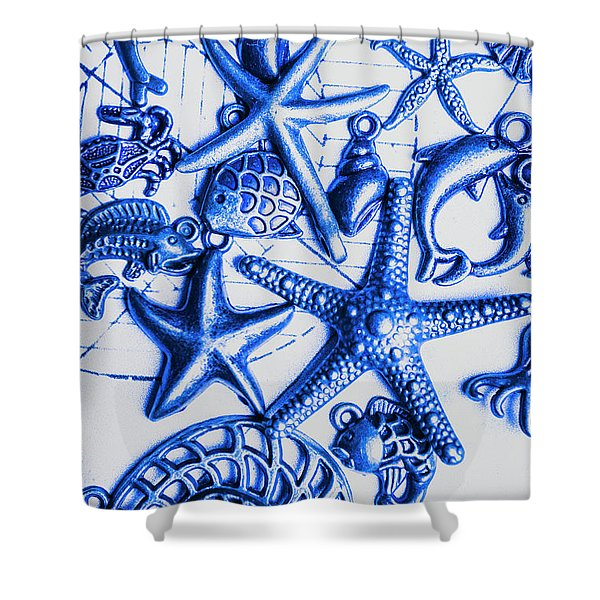 Blue Reef Abstract Shower Curtain