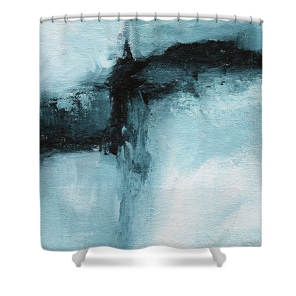 Blue Ridge- Abstract Art By Linda Woods Shower Curtain