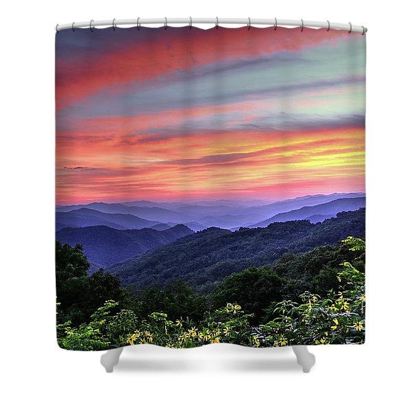 Blue Ridge Mountain Color Shower Curtain