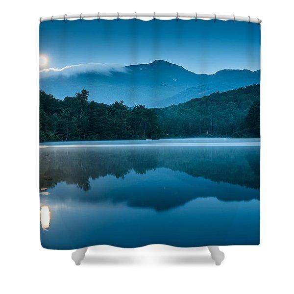 Blue Ridge North Carolina Full Moon Mountain Reflections Shower Curtain