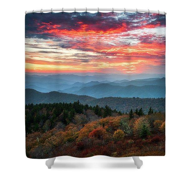 Blue Ridge Parkway Autumn Sunset Scenic Landscape Asheville Nc Shower Curtain