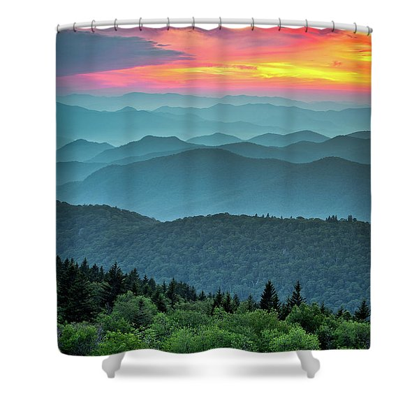 Blue Ridge Parkway Sunset - The Great Blue Yonder Shower Curtain