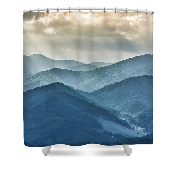 Blue Ridge Sunset Rays Shower Curtain