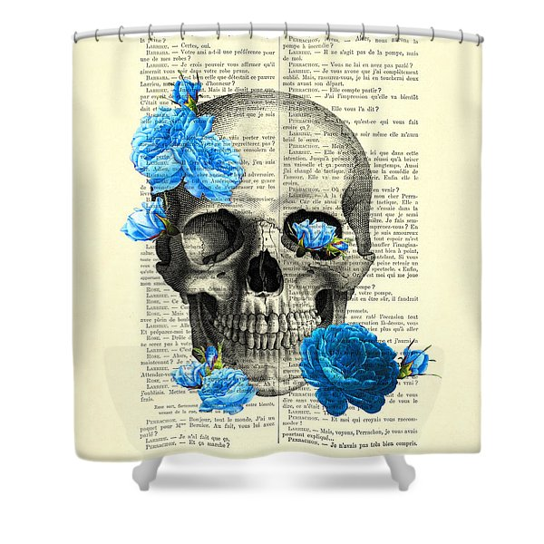 Blue Roses With Skull Art Print Shower Curtain
