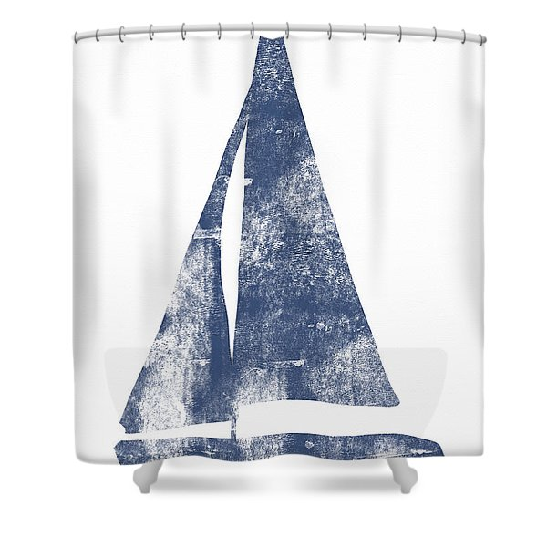 Blue Sail Boat- Art By Linda Woods Shower Curtain