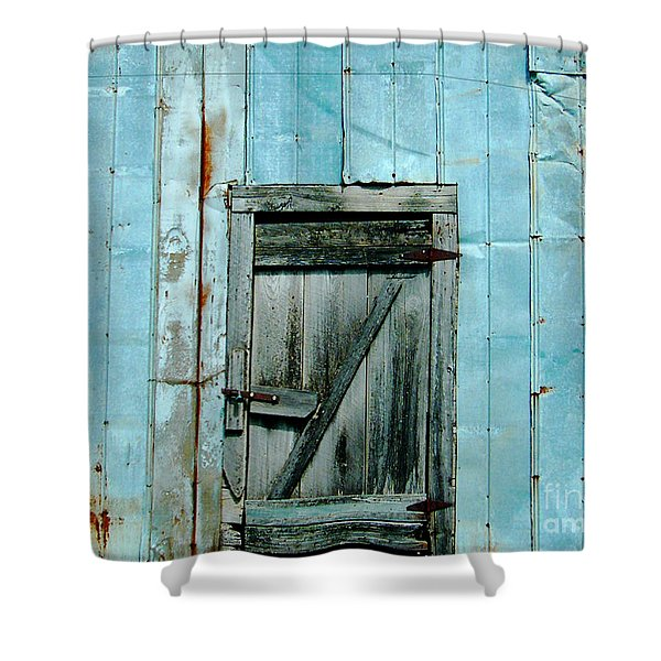 Blue Shed Door  Hwy 61 Mississippi Shower Curtain