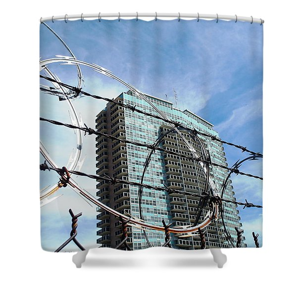 Blue Sky And Barbed Wire Shower Curtain