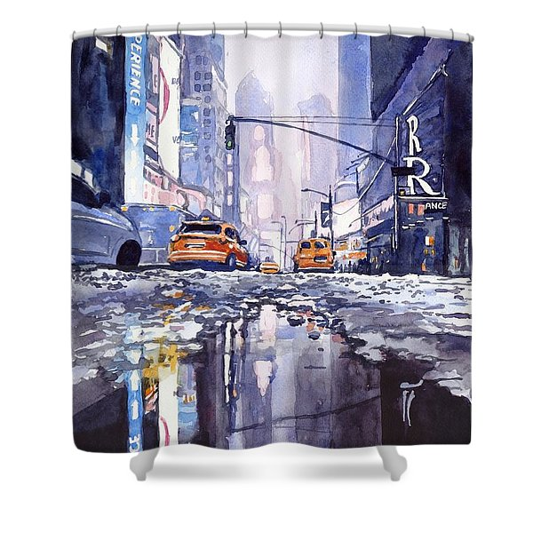 Blue Skyscrapers Shower Curtain