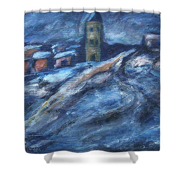 Blue Snow City Shower Curtain