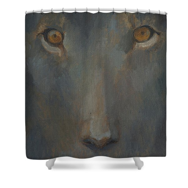 Blue Sphinx Shower Curtain