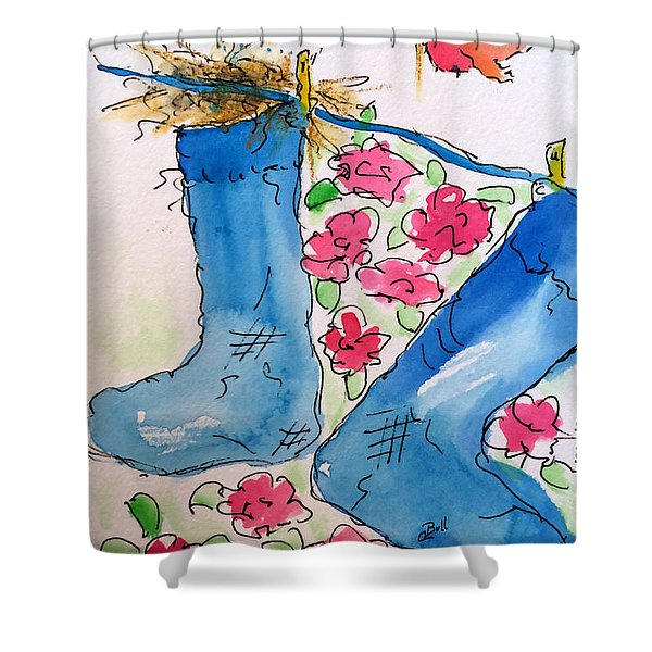 Blue Stockings Shower Curtain