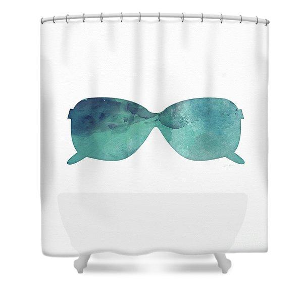 Blue Sunglasses 1- Art By Linda Woods Shower Curtain