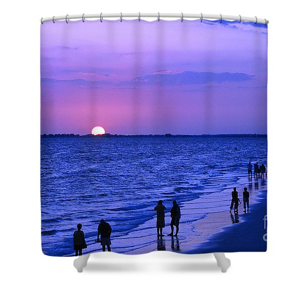 Blue Sunset On The Gulf Of Mexico At Fort Myers Beach In Florida Shower Curtain
