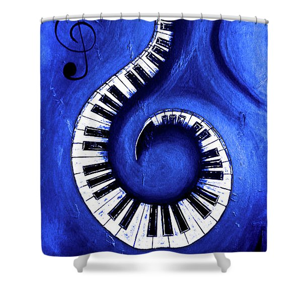 Blue - Swirling Piano Keys - Music In Motion  Shower Curtain