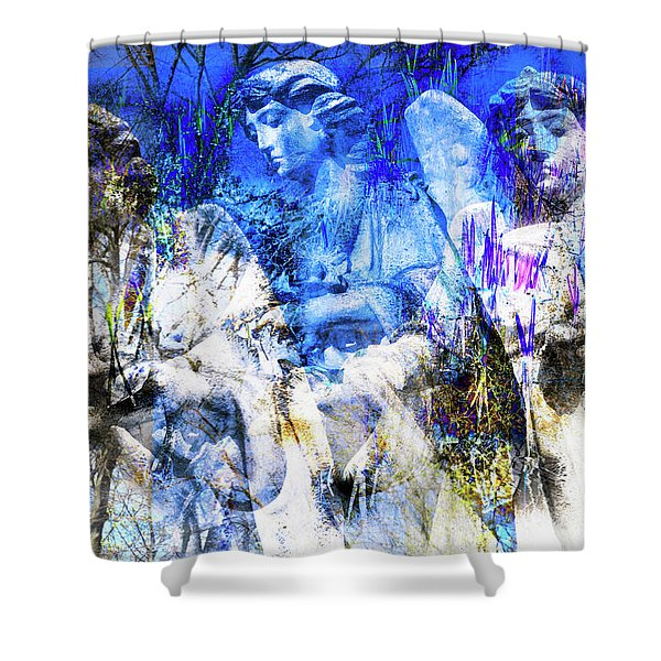 Shower Curtain featuring the digital art Blue Symphony Of Angels by Silva Wischeropp
