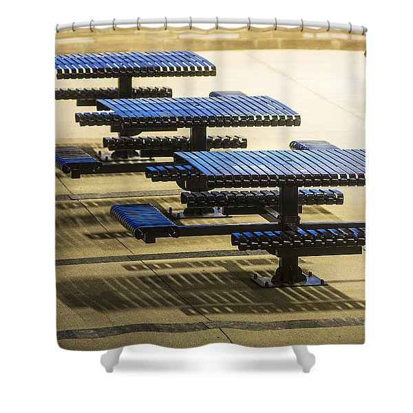 Blue Tables-6747a Shower Curtain