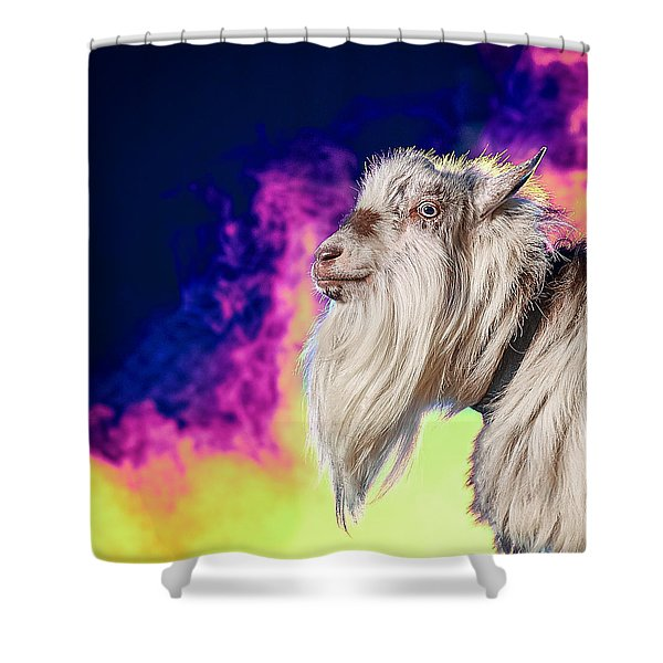 Blue The Goat In Fog Shower Curtain