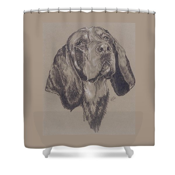 Shower Curtain featuring the drawing Bluetick Coonhound In Graphite by Barbara Keith