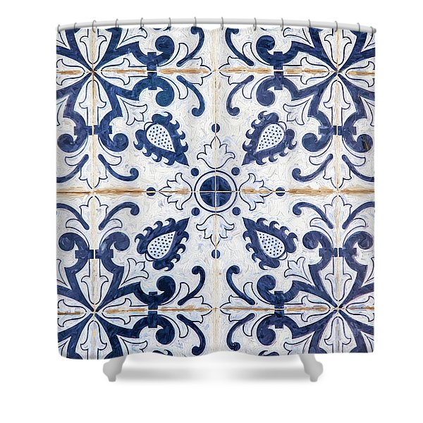 Blue Tile Of Portugal Shower Curtain