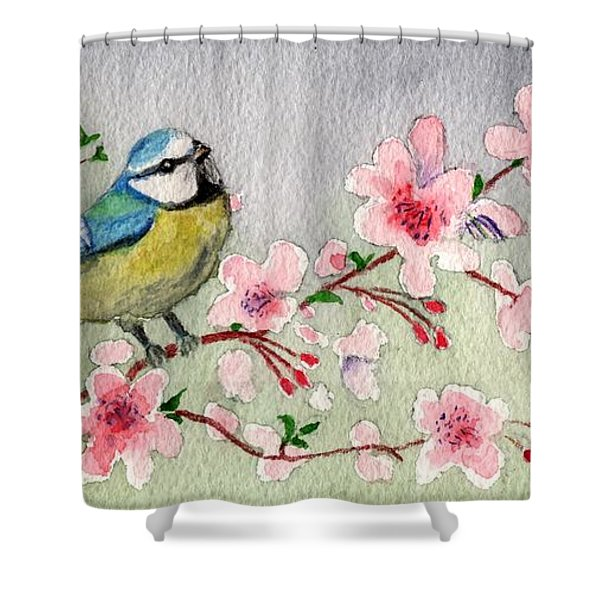 Blue Tit Bird On Cherry Blossom Tree Shower Curtain