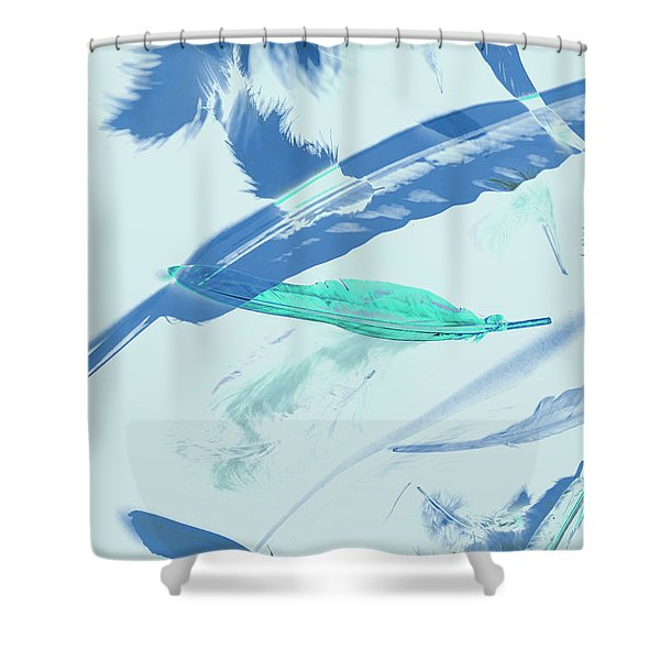 Blue Toned Artistic Feather Abstract Shower Curtain
