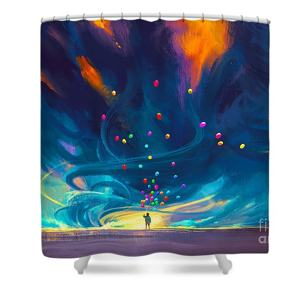 Shower Curtain featuring the painting Blue Tornado by Tithi Luadthong