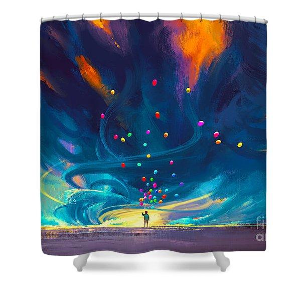 Blue Tornado Shower Curtain