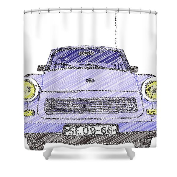 Blue Trabant Shower Curtain