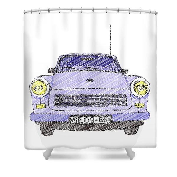 Blue Trabant Shower Curtain