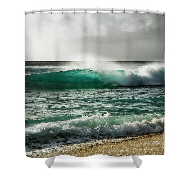 Blue Translucent Wave Shower Curtain