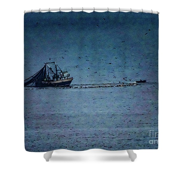 Blue Trawler 1 Shower Curtain