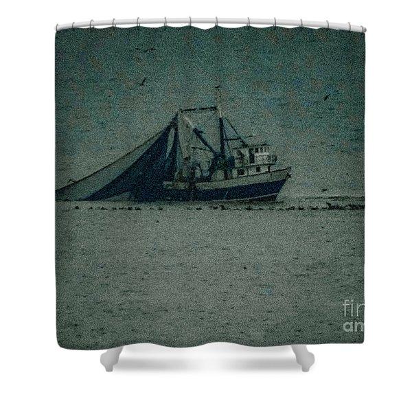 Blue Trawler 3 Shower Curtain