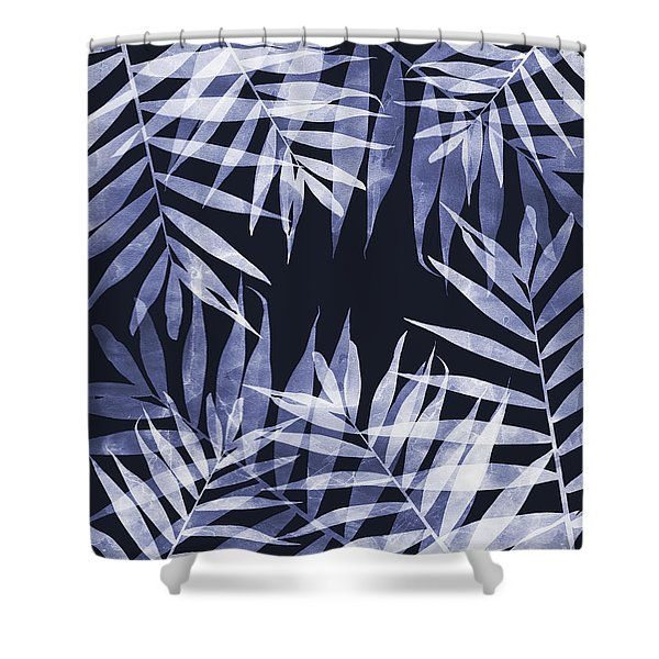 Blue Tropical Leaves Shower Curtain