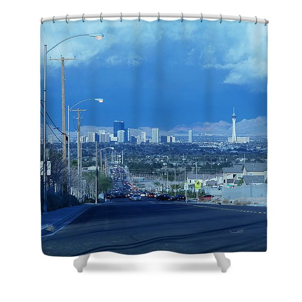 Blue Vegas Shower Curtain