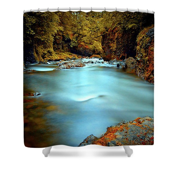 Blue Water And Rusty Rocks Shower Curtain