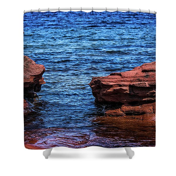 Blue Water Between Red Stone Shower Curtain