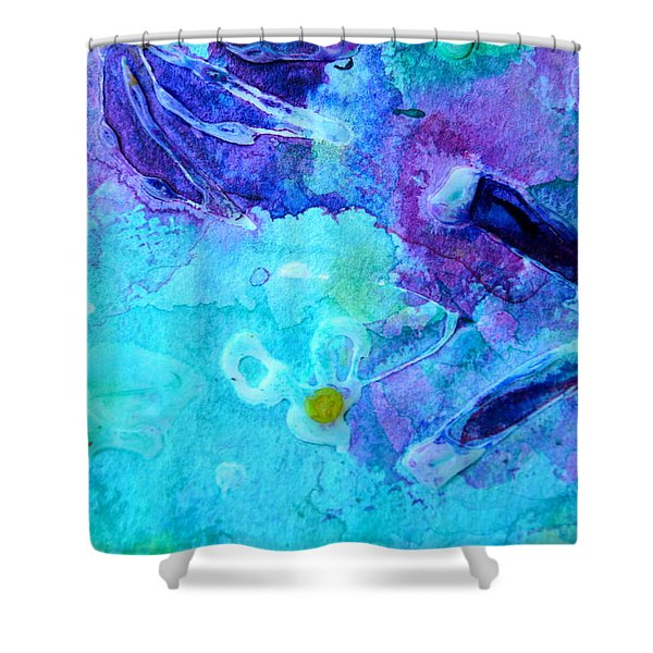 Blue Water Flower Shower Curtain