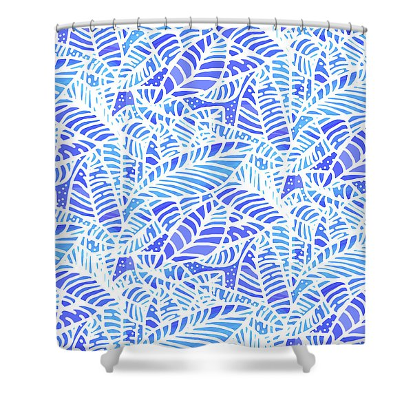 Blue Water Leaves Shower Curtain