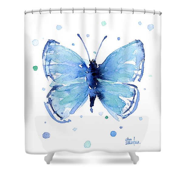Blue Watercolor Butterfly Shower Curtain