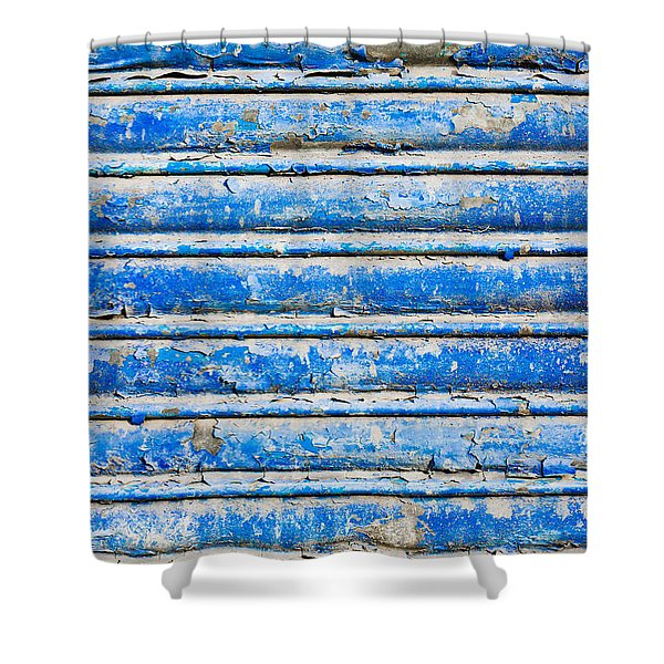Blue Weathered Metal  Shower Curtain